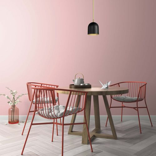marchetti-illuminazione-dome-black-chair-table-pink-background