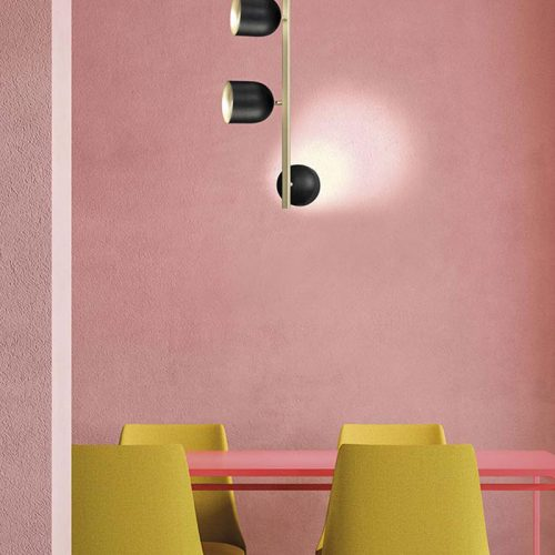 marchetti-illuminazione-dome-black-gold-yellow-chairs-pink-background